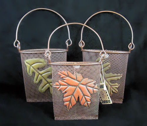 Autumn Leaves Rusty Tin Mesh Baskets