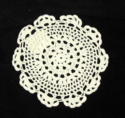 8 inch White Crocheted Doily